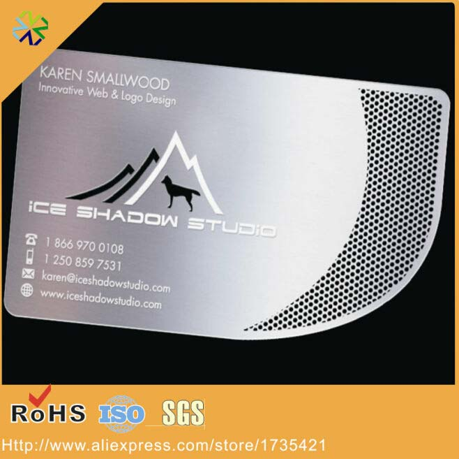 (100pcs/lot) Luxury Metal Visiting Steel Business Card,cut Out Metal Business Card