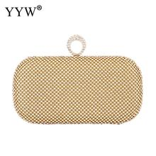 gold Diamond Rhinestone Evening Clutch Bag Handmade Finger Ring Handbag Purse Evening Wedding Party Bag Silver Black Gold women elegant fashion splice rhinestone wedding party clutch silver black gold evening bag ladies shoulder bag flap purse