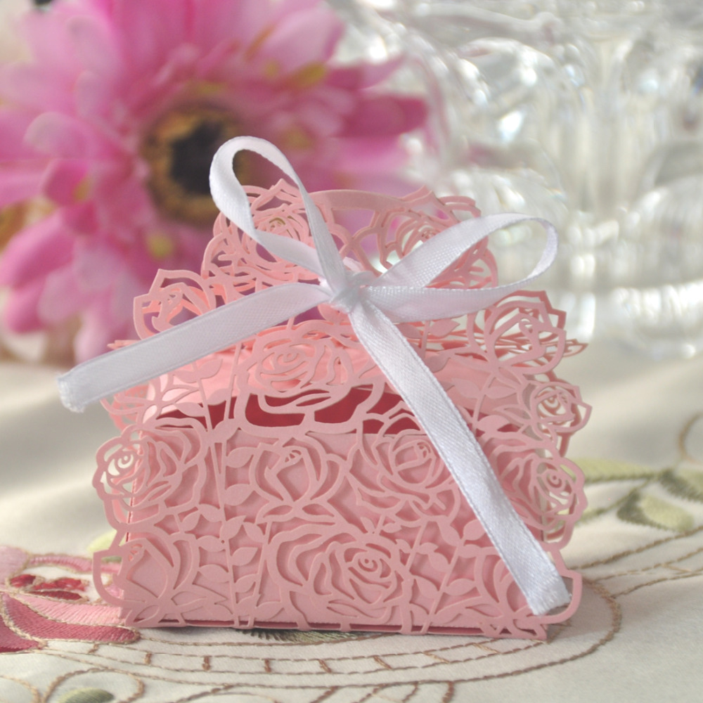 10Pcs/set Pink Rose Shaped Wedding Gifts Boxes Candy Boxes Favor ...