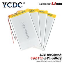 1 2 4pcs 3 7V 10000mAh 8565113 Lipo Battery With PCM For Tablet DVD GPS Medical