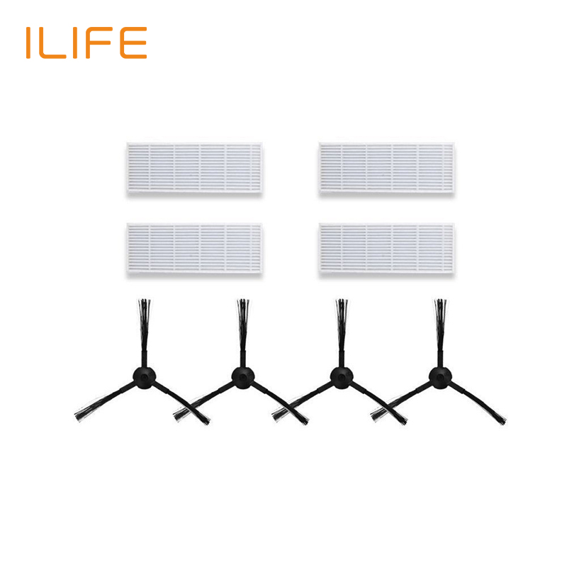 Replacement Kits For ILIFE A6 A4 A4s Robot Vacuum HEPA Filter Side Brush