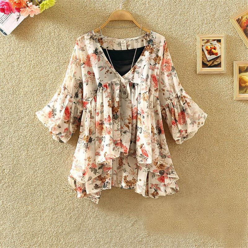 Women Floral Print Blouse Casual V-Neck Chiffon Blouses Lady Lantern Sleeve Ruffles Shirts Irregular Blusas Tops Plus Size A1338
