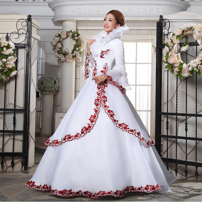 Red And White Ball Gown Wedding Dress: Red And White Appliques Satin Bridal Dress Ball Gown Long