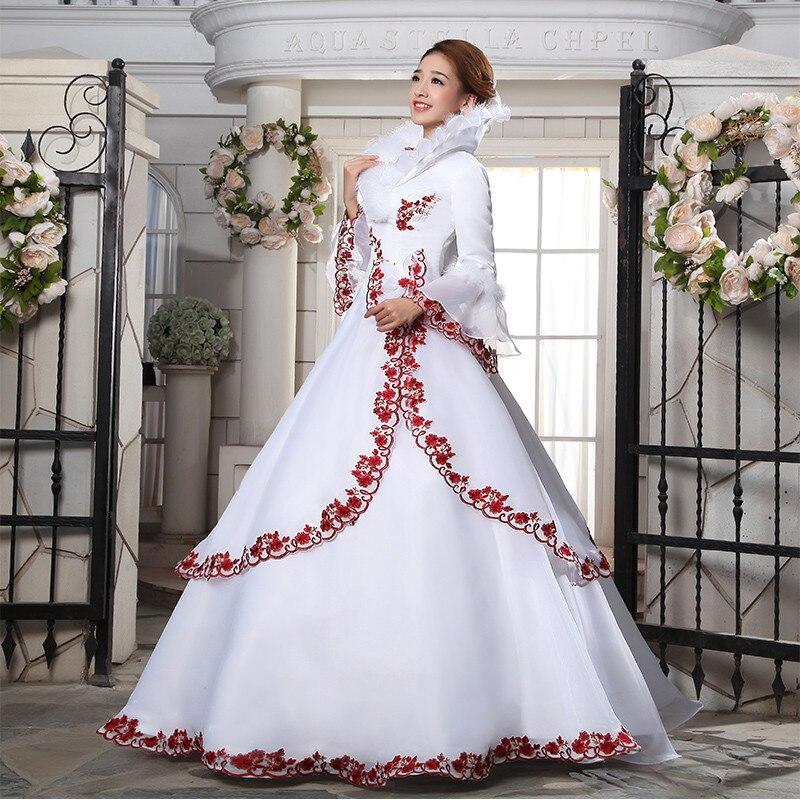 Non Traditional Wedding Dresses For Winter: Rosso E Bianco Appliques Satin Abito Da Sposa Ball Gown