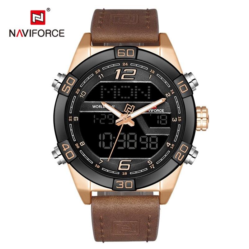 NAVIFORCE Men Watches Army Sport Watch Men's Leather Waterproof Quartz Wristwatch Male Analog Digital Clock Relogio Masculino