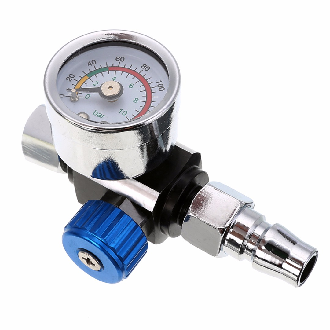 1/4 BSP Threads Mini Air Regulator Small Blue Spray Pressure Valve Mayitr Tail Pressure Gauge w/ Nozzle For Spray Tool 1 4inch adjustable mini air pressure regulator dial gauge hvlp spray gun air tools