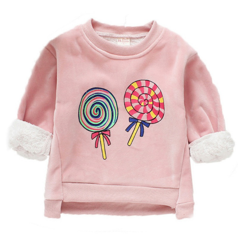 Baby Clothes For Girl Long Sleeve Cartoon Print Baby Girl Sweater Top Winter Warm Plus Velvet Kids Clothes Pullover 3