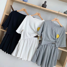Tracksuit Women Two Piece Outfits Matching Sets Top and Pants Biker Shorts Smiley Print T-Shirt + Wide Leg Pants Skirt Set