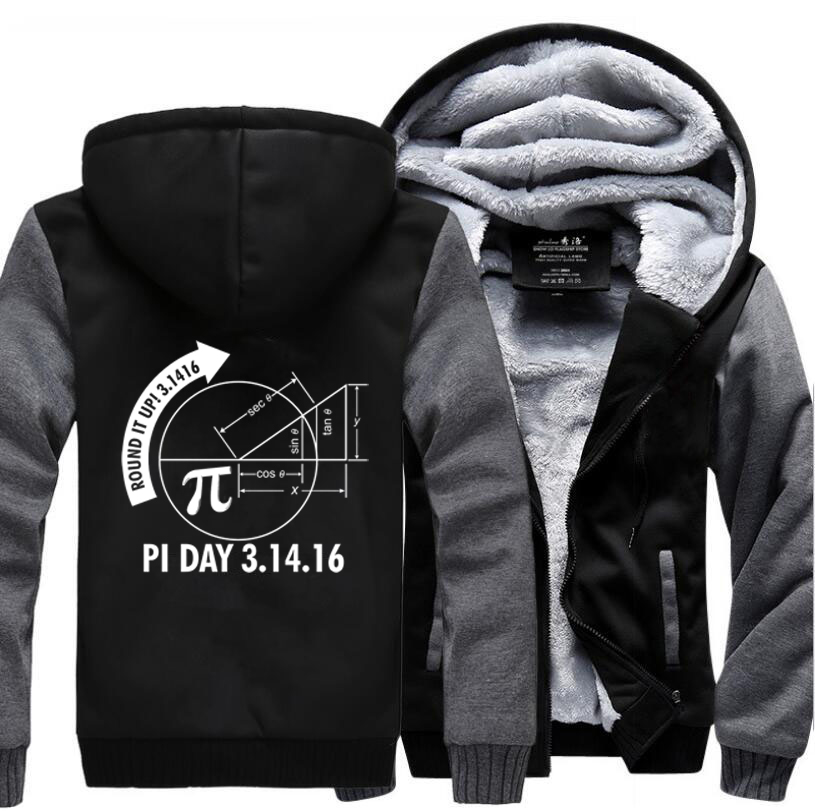 Adult Round It Up Math Graph Pi Day Science Hoodies 2017 Winter Fleece High Quality Sweatshirts Men Plus Size Thick Mens Jacket