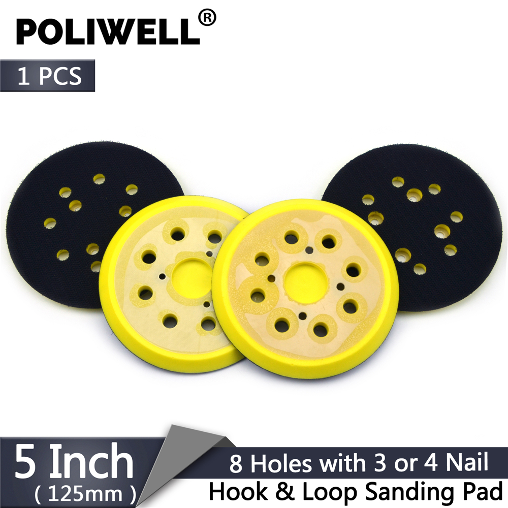 POLIWELL 5 Inch 125mm 8 Holes 3 4 Nails Backing Pad Hoop & Loop Sanding Pads For Sanding Disc Holder Power Sander Polisher Tools