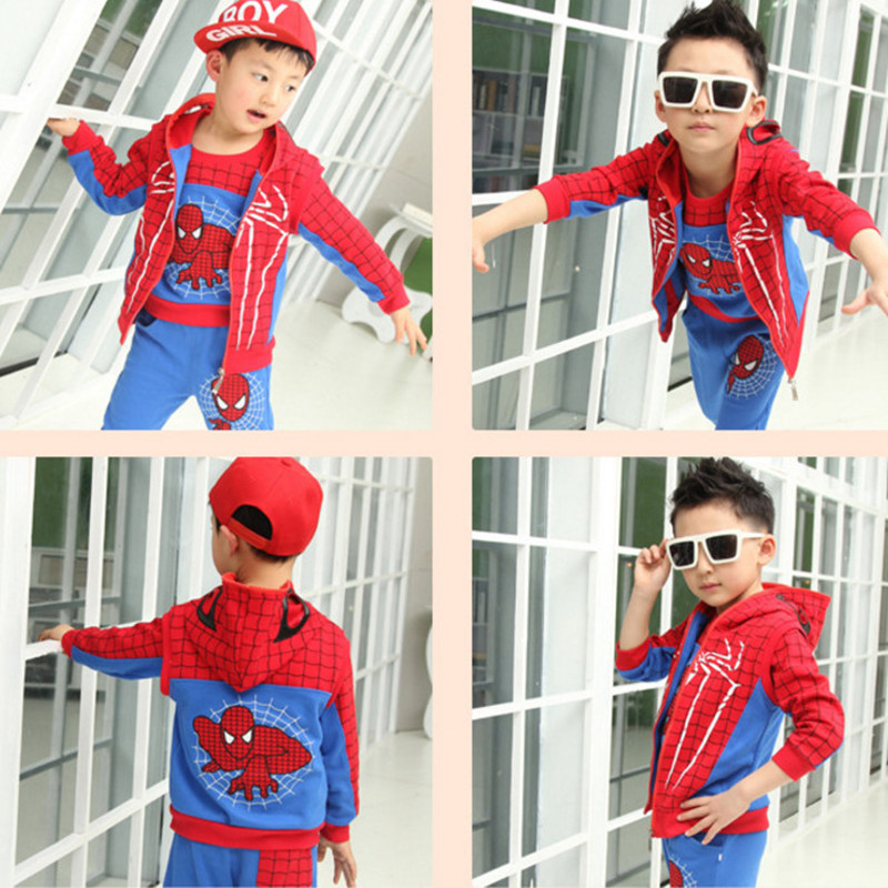 3pcs 2019 Spring Autumn Children Toddler Baby Kids Boys Clothes Sets Spiderman Sport Casual Hooded Sweatshirt Kids Clothing Sets
