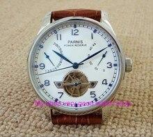 43 ММ PARNIS ST2530 Автоматический Self-ветер движение белым циферблатом power reserve мужские часы Механические часы GQ8