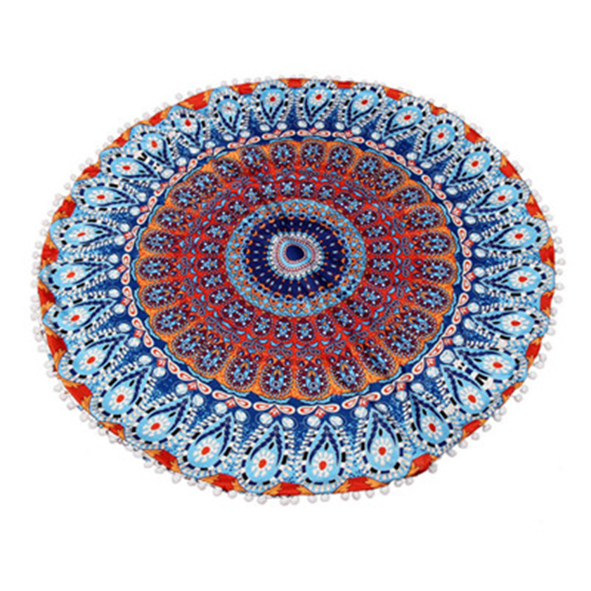 Large Mandala Floor Pillows Round Bohemian Meditation Ottoman Cushion Cover