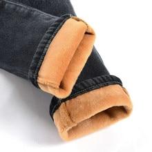 Cộng với Nhung Dày Hơn Phụ Nữ Jeans Ấm Cao Eo Quần Cao Bồi Quần Stretch Denim Quần Jeans Mùa Đông Bút Chì Jeans C1495