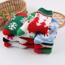TOIVOTUKSIA Plush Christmas Socks Fuzzy Towel Thicken Warm Thermal Socks Women Winter Tree Renntier Santa Claus Fuzzy Soft Socks все цены