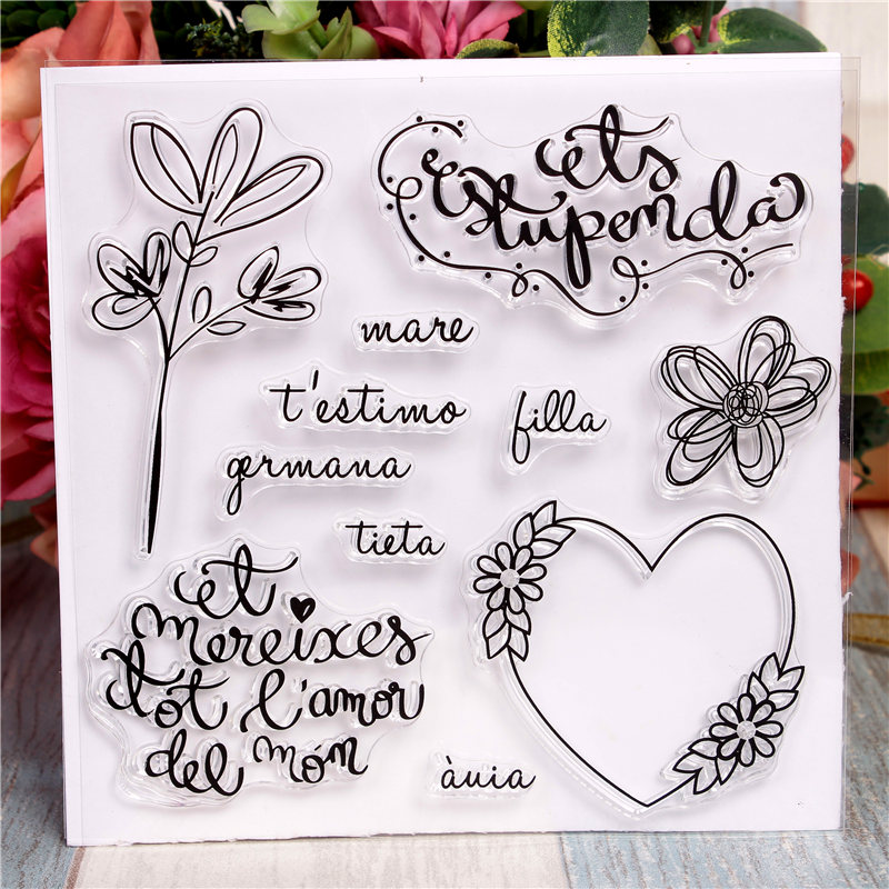 Spanish word Rubber Silicone Clear Stamps for Scrapbooking ...