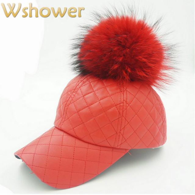 Red Coffee Real Raccoon Fur Pom Pom Pu Plaid Baseball Cap Hip Hop Faux Leather Fur Pompom Snapback Hat Pompon Ball Fishing Cap