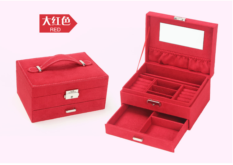 High Quality VelvetJewelry Box Organizer Casket Rings Necklaces