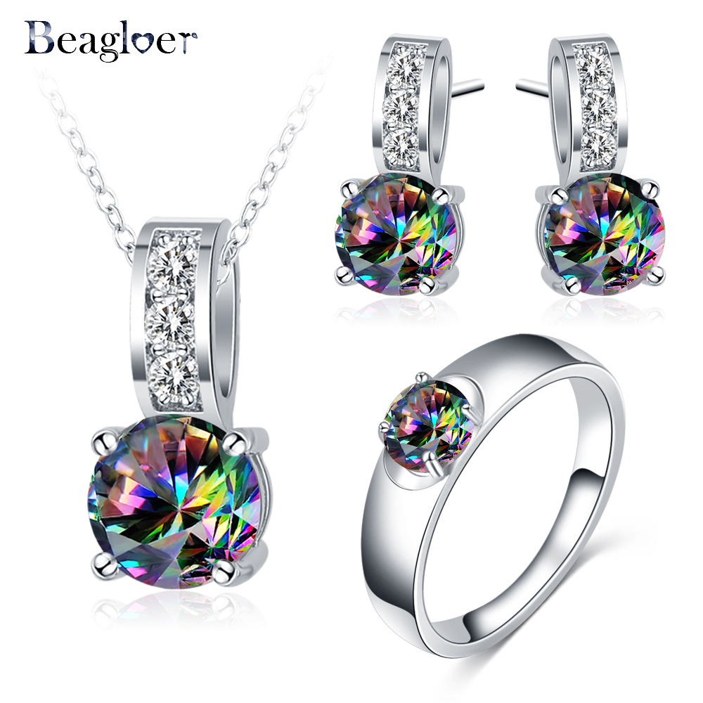 Beagloer New Silver Color Jewelry Sets with Multicolor Cubic Zircon Earrings Pendant Ring For Women Fashion Wedding Jewelry Set