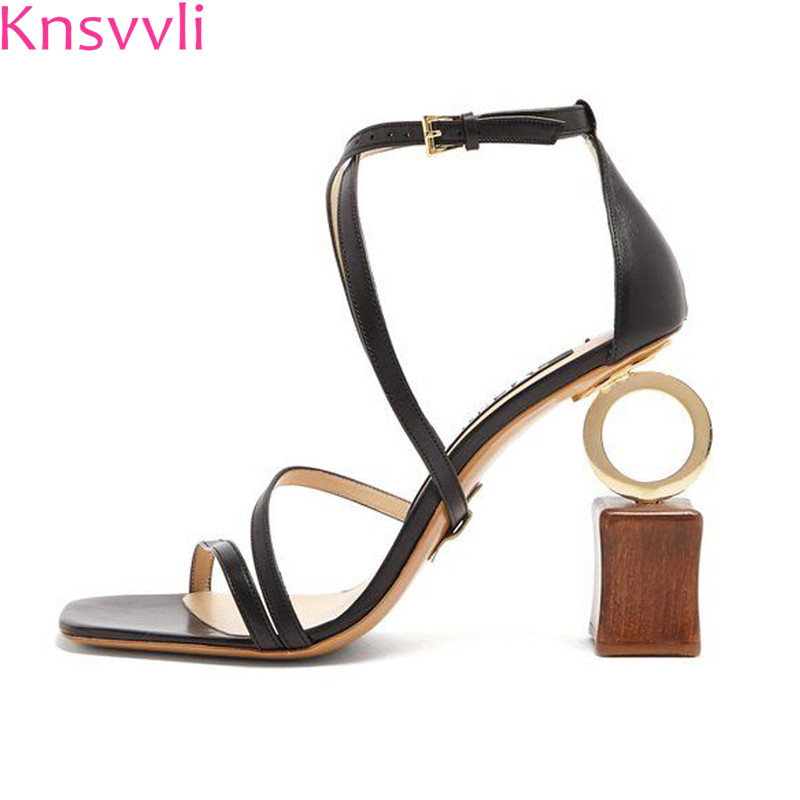 2018 New Hot Building blocks asymmetric Heel Gladiator Sandals Women peep toe ankle strap Strange Style