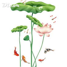 Lotus Green Leaves Fishes Big Wall Stickers Stained PVC Self Adhesive Removable DIY Home Decor Chinese Style Decal Free Shipping цены