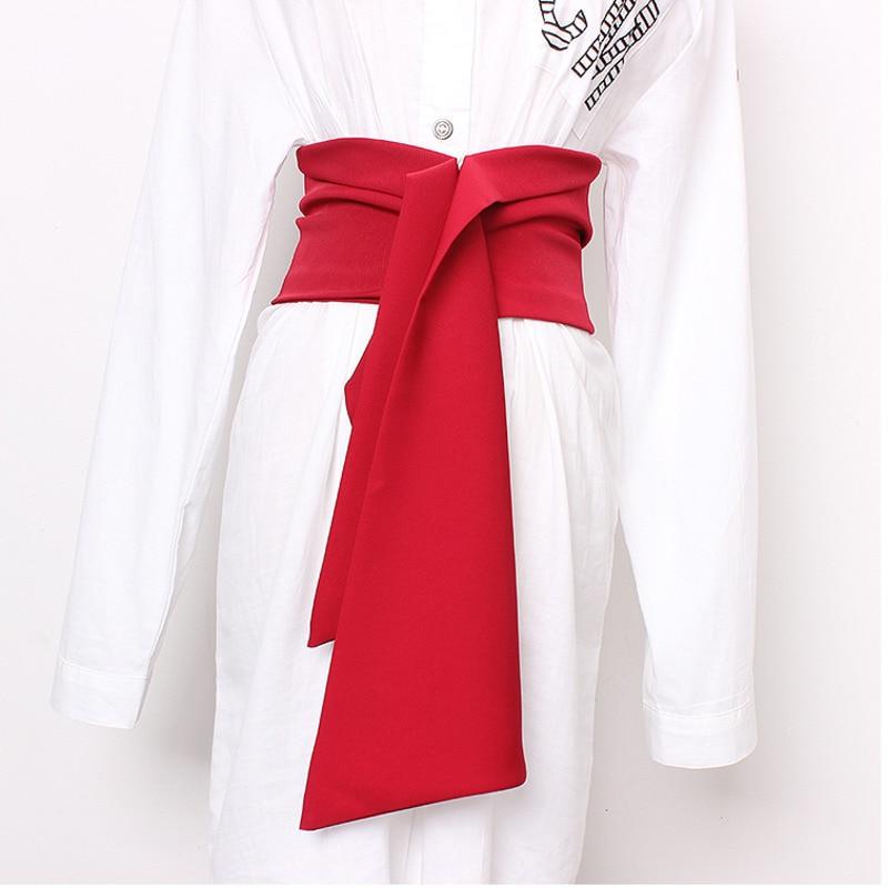 LANMREM 2020 Fashion New Bandage Waist Cummerbunds For Woman Width Belt All-mathc Clothes Accessories Red Black YH483