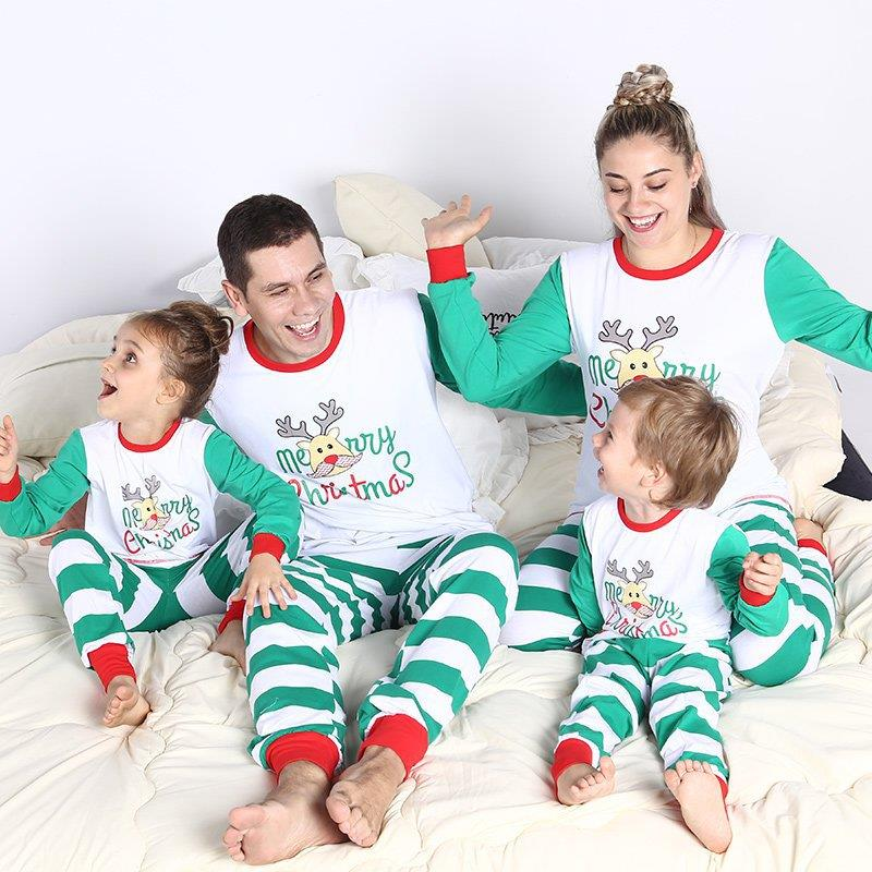 Family Christmas Shirts.Us 20 07 Lovely Moose Patchwork Striped Sleepwear Family Christmas Pajamas Deer Printing Matching Christmas Shirts For The Whole Family In Matching
