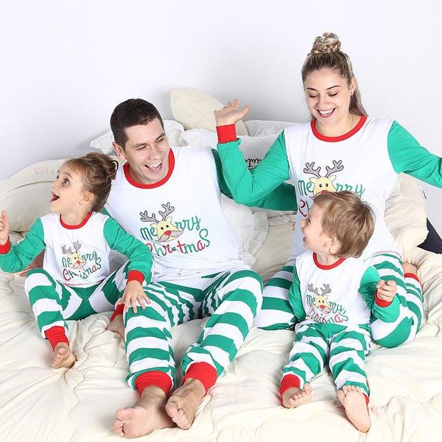 b1f39a82af53 Lovely Moose Patchwork Striped Sleepwear Family Christmas Pajamas Deer  Printing Matching Christmas Shirts for the Whole Family