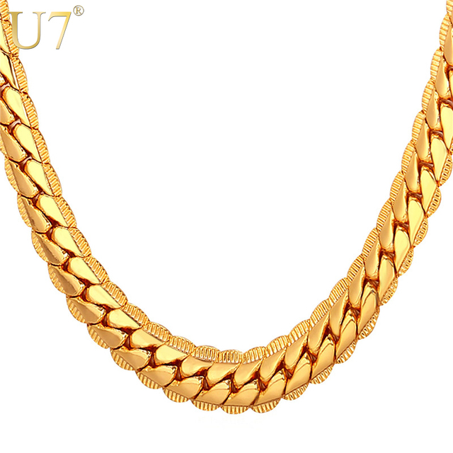 U7 Necklace Choker/Long 9MM/6MM Vintage Punk Black/Silver/Gold Color Miami Chain Hip Hop Chain Gift For Women/Men Jewelry N08