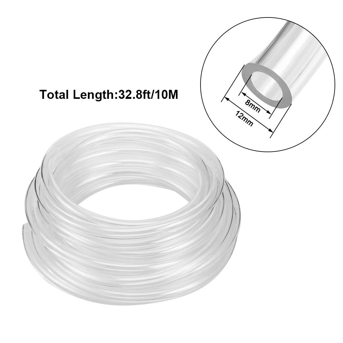 Wholesale 10 Meter 32.8ft 12mm X <font><b>8mm</b></font> Pneumatic Air PU <font><b>Hose</b></font> Pipe Tube Clear Transparent High pressure Pneumatic Component <font><b>Hose</b></font> image