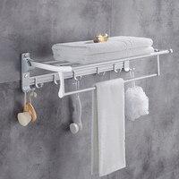 Nail free Foldable Bath Towel Racks Active Bathroom Towel Holder Double Towel Shelf With Hooks Bathroom Accessories