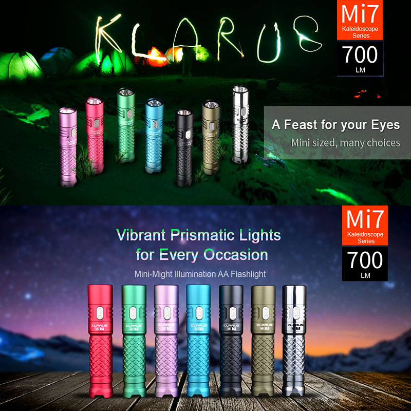 Klarus Mi7 IPX8 Mini LED EDC Flashlight Torch Power By AA / 4500 Battery CREE XP-L HI V3 Lamp 700 Lumens Lantern Smart Indicator skilhunt ds16 edc flashlight cree xp l led 500 lumens aa 14500 portable outdoor camping led light rechargeable torch lanterne