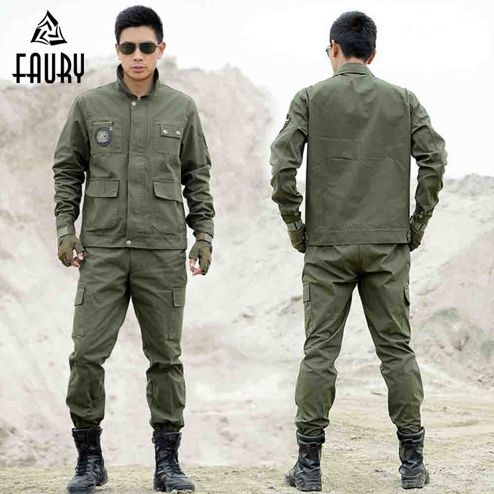 Tactical Army Green Military Uniform Security Clothing Outdoors 2018 Men American CS Combat Jackets+Pants Work Camouflage Suit