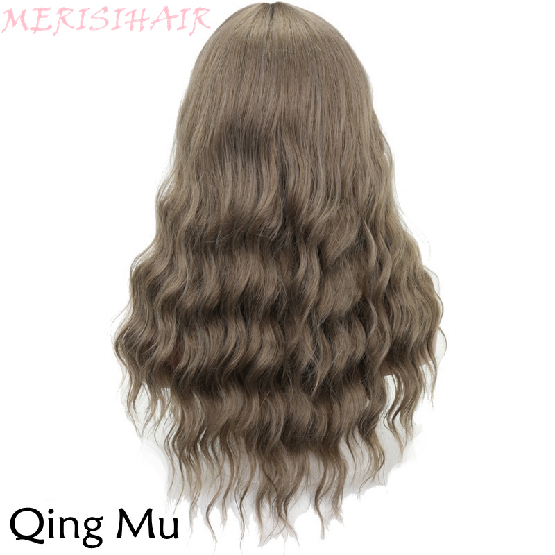 MERISI HAIR Long Wavy Wig Qing Mu Color 8Colors Available Wigs For women Synthetic Hair High Temperature Fiber