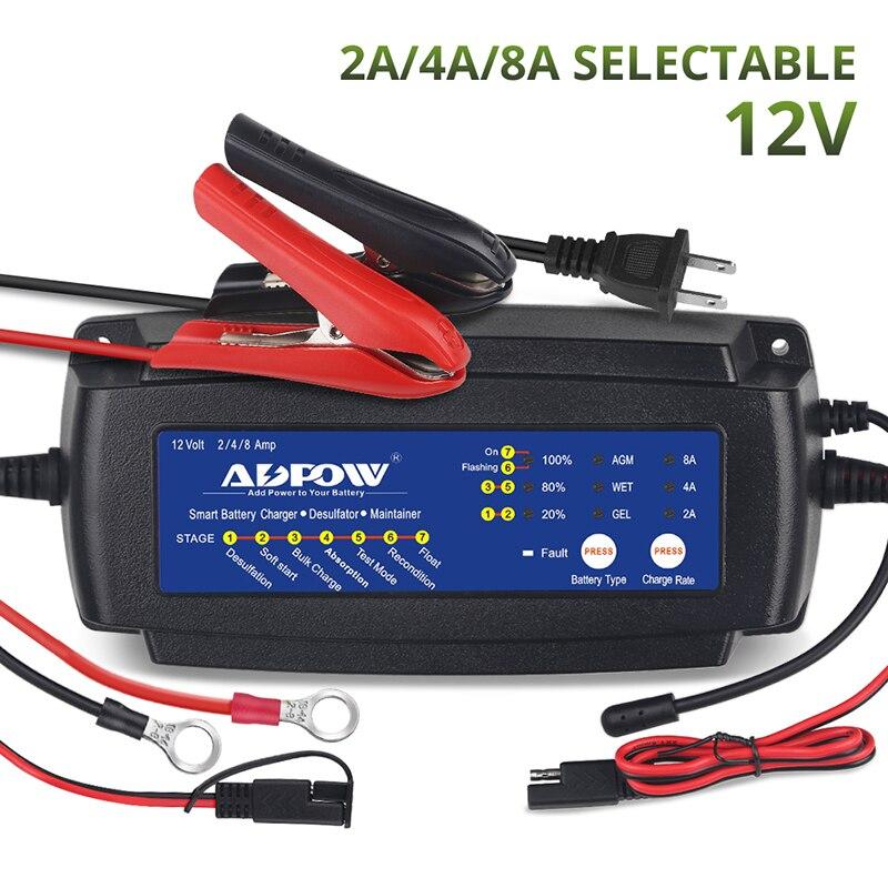 2A 4A 8A 12 V Agm Gel chargeur de batterie humide pour voiture moto camion bateau charge 6-160Ah