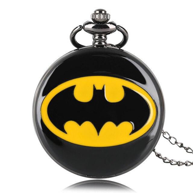 Full Hunter Superhero Luxury Black Batman Quartz Pocket Watch Necklace Chain Simple Roman Number for Girls Boys Kids Gifts