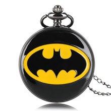 Cool Gift Necklace Chain Roman Number Men Pocket Watch  Boy Full Hunter Black Pendant Women Quartz Causal Batman Kids