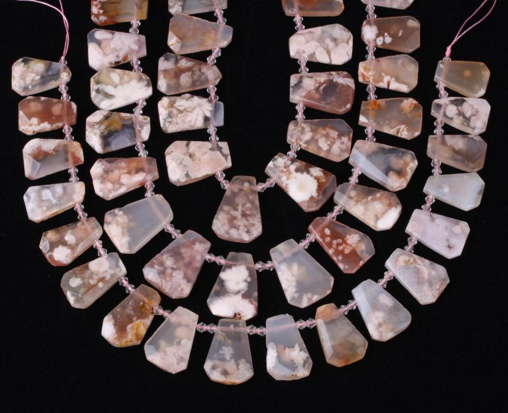 Beautiful Cherry Blossom Agates Trapezoid Nugget Loose Beads Jewelry,Natural Agates Slice Bead Pendants Making DIY SY 659AMEE