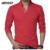 Camisa de Polo Hombres de la Marca de Ropa de Manga larga sólido Delgado Polo apto de Las Camisas de Algodón Cuello de Pie 5 Colores Más El tamaño 3XL MXC0245