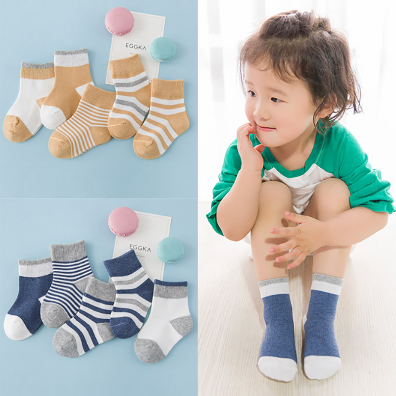 SLKMSWMDJ Spring and Autumn baby cotton socks classic stripes boys and girls childrens socks S M L for 0-6 years 5 pairs