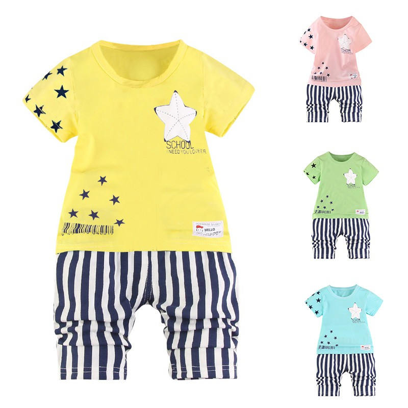 Hot Summer 2018 New Toddler Boys Clothes Star Printed Tops + Striped Kids Shorts Suits Casual Cotton Children Clothing Set