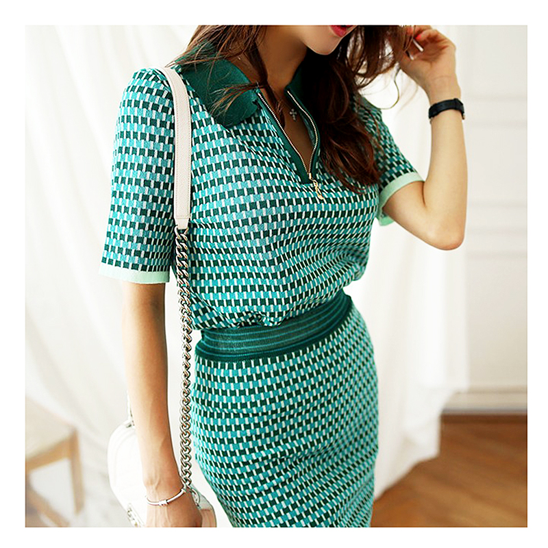 Spring Summer Knitted Two Piece Set Women Fashion Short Sleeve Blouse Pullovers Elastic Waist Skirt Ladies 2 Pieces Set SL174