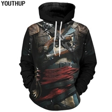 YOUTHUP Spring/Autumn Male 3d Hoodies Assassin Armor 3D Print Cool Cosplay Hooded Sweatshirts Men Pullover Streetwear