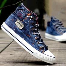 Men's Denim Shoes 2016 Breathable High Canvas Shoes Men Shoes Casual Skate Footwear Zapatos Hombre