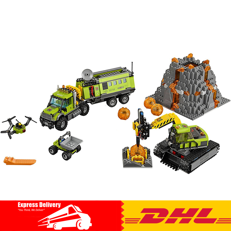 Lepin 02005 889Pcs City Series Volcano Exploration Base Building Blocks Compatible 60124 Brick Toy lepin 02005 volcano exploration base building bricks toys for children game model car gift compatible with decool 60124