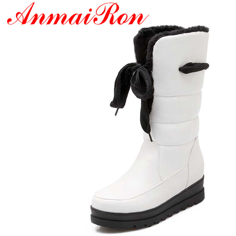 ANMAIRON Warm Winter Snow Boots Shoes New Round Toe Mid-Calf PU Wedges Med platform girl Boots Big Size34-43 Black, white, red anmairon shallow leisure striped sandals women flats shoes new big size34 43 pu free shipping fashion hot sale platform sandals