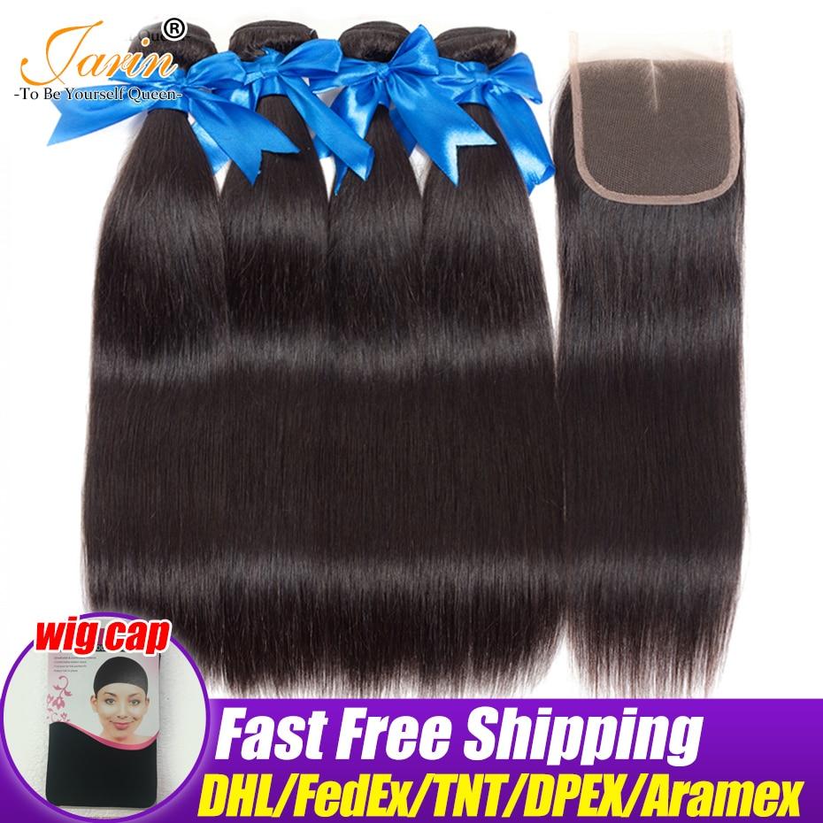 Jarin Straight Hair Bundles With Closure Malaysian Hair Straight 4 Bundles With Lace Closure 4 4