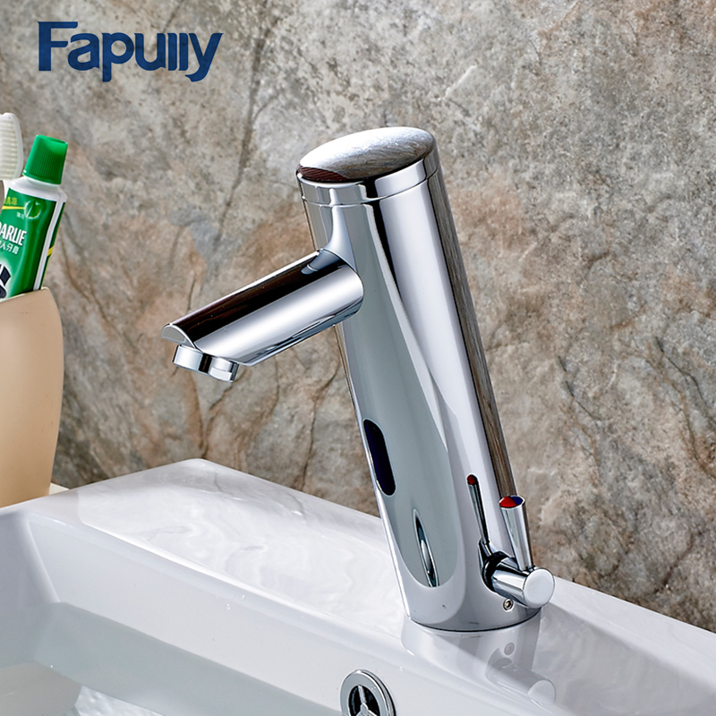 fapully hot cold bathroom water mixer automatic faucet hand touch tap battery power free sensor faucet bathroom sink faucet
