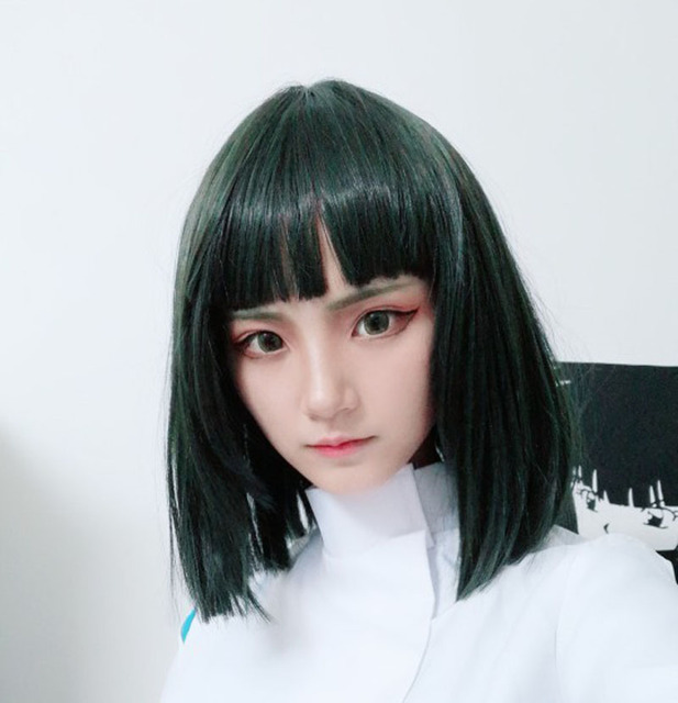 حماسي بعيدا هاكو Nigihayami Kohakunushi الطحالب الخضراء اللون مقاومة لل حرارة الاصطناعية الشعر تأثيري الباروكات + كاب الباروكة