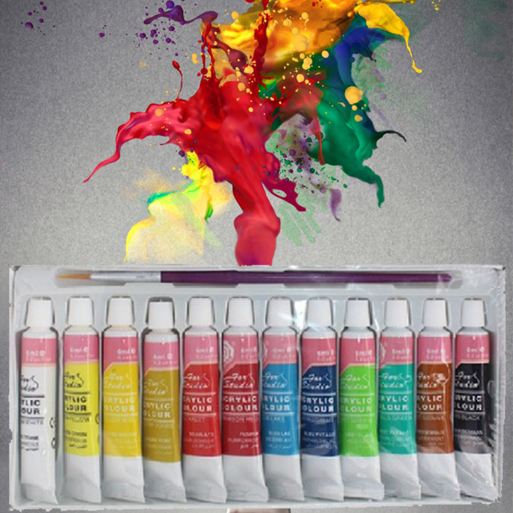 DIY paiting 12 Colors Professional Acrylic Paints Set Hand Painted Wall Painting Textile Paint Brightly Colored Art Supplies